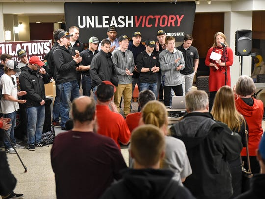 SCSU Athletic Director Heather Weems speaks during