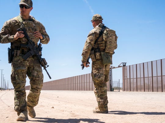 BORTAC secures for Secretary of Homeland Security Kirstjen M. Nielsen who came to visit and greets National Guards after they were deployed to the Southwest Border in San Luis, Arizona at the U.S.-Mexico border on April 18, 2018.
