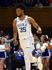 Nov 11, 2017; Durham, NC, USA; Duke Blue Devils forward Marvin Bagley III (35) react after a basket during the first half at Cameron Indoor Stadium.  Duke won 99-69.  The win was Duke Blue Devils head coach Mike Krzyzewski's 1000th at Duke.