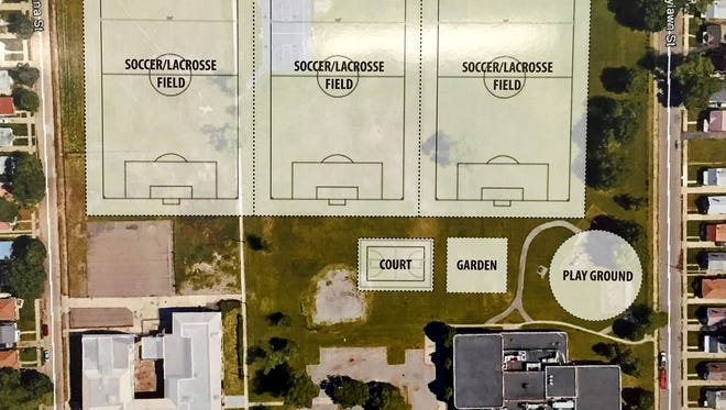A rendering shows plans to add three soccer fields behind the shuttered Johnson Recreation Center in Detroit. U of D Jesuit High School and Academy has submitted an offer to buy the center and surrounding property from the city.