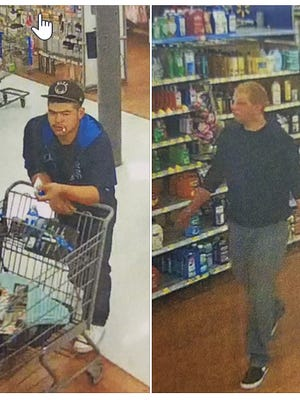 These two men are suspected of using a credit card to make purchases at the Wal-Mart in Marina, police there say.
