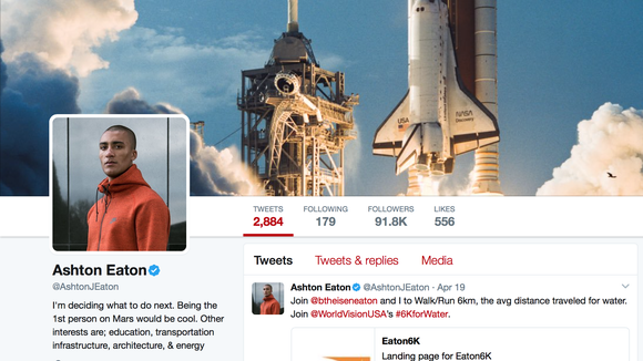 Olympic gold medalist Ashton Eaton genuinely wants to go to space
