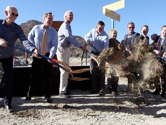Developer John Wessman, from left, Palm Springs Mayor