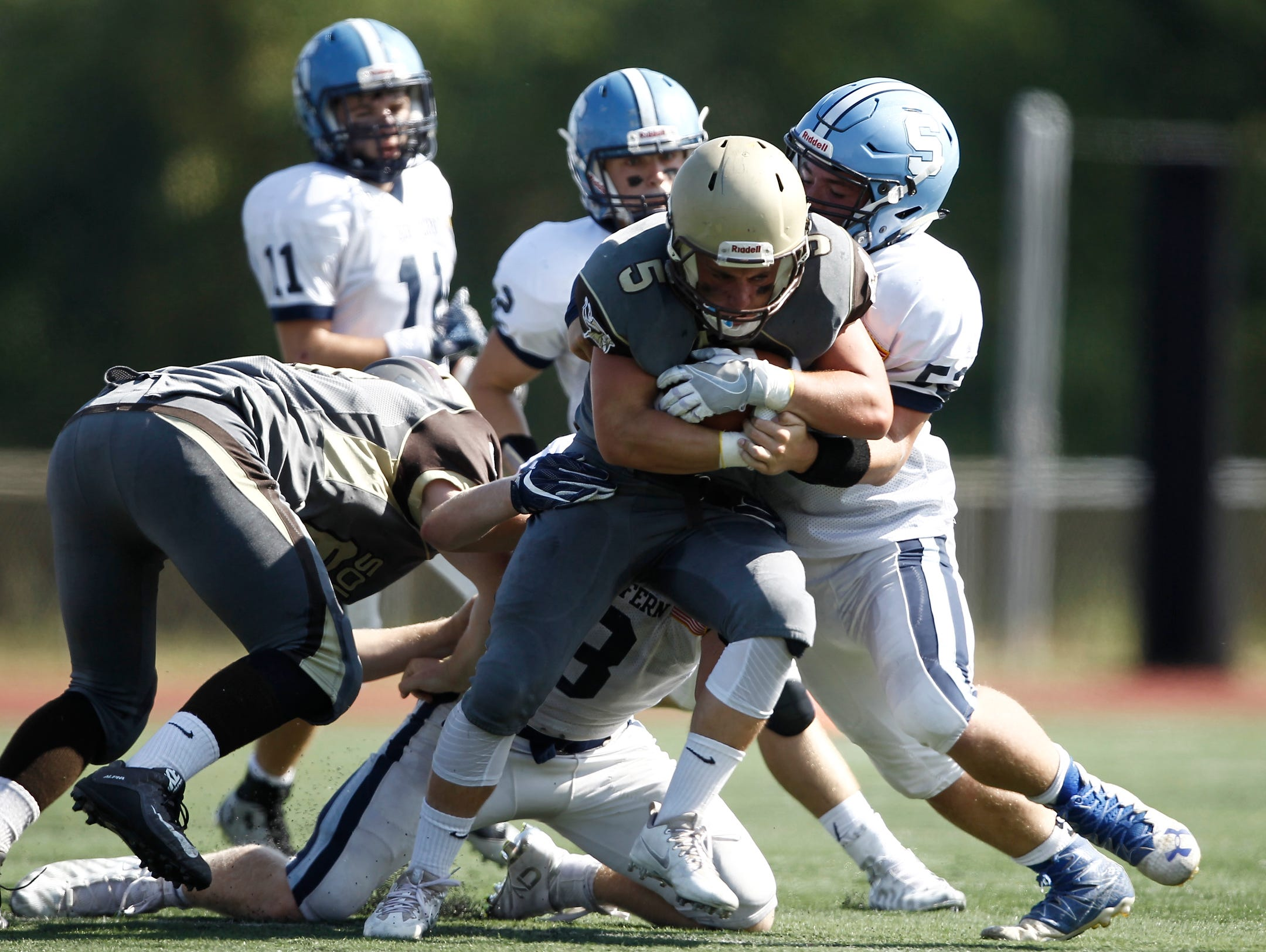 Clarkstown South's Ryan Thomas gets the carry during a football game at Clarkstown South High School on Saturday, September 17, 2016. South won 30-0.