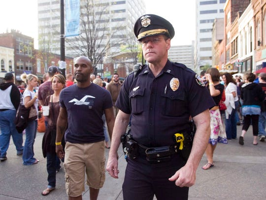 Knoxville Police Department Police Chief David Rausch patrols Market Square on April 2009, back when he was a captain.