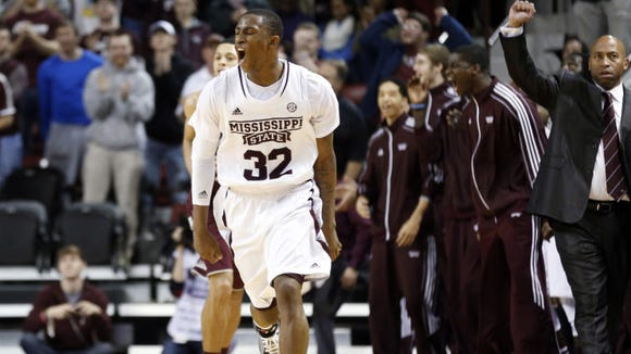 Mississippi State guard Craig Sword celebrates after Mississippi State tied the score against Texas A&M during the second of an NCAA college basketball game in Starkville, Miss., Saturday, Jan. 18, 2014. Mississippi State won 81-72 in overtime.