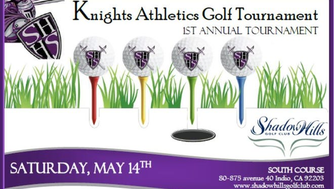 Shadow Hills High School will host a golf tournament on May 14 to benefit the school's athletics department.