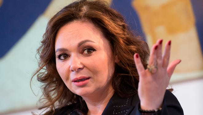 Russian lawyer Natalia Veselnitskaya speaks during an interview in Moscow.