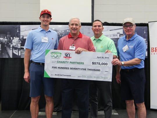 Jeff Greenfield with Niagara Bottling (left), Brad Brookshire, BGC Chairman and CEO; Steve Barkurn with Sanderson Farms and James Smith with Niagara Bottling present the $575,000 donation check.