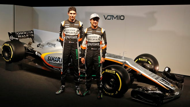 After a season of intense bickering, Force India driver Esteban Ocon of France, left, will be driving in front of a Mexican crowd that will be cheering hard for teammate and Mexican native Sergio Perez, right.