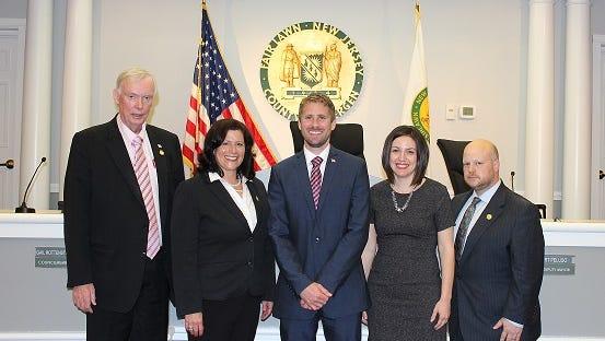 From left Deputy Mayor John Cosgrove, Deputy Mayor Gail Rottenstrich, Mayor Kurt Peluso, Council Members Cristina Cutrone and Josh Reinitz
