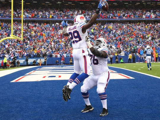 Bills running back Karlos Williams celebrates with