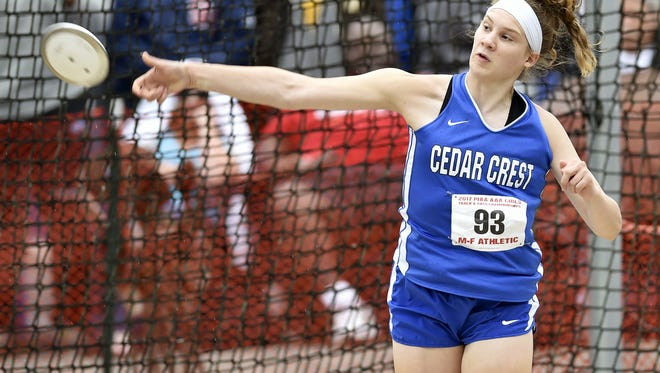 Cedar Crest's Hannah Woelfling . last year's Outstanding Female Athlete winner, is one of the top performers set for action at Saturday's Lebanon County Track and Field Championships.