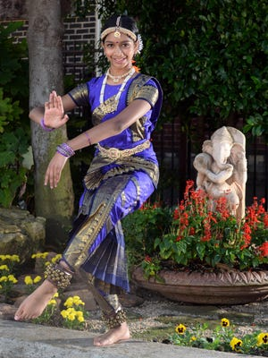 Pooja Veerareddy performs a classical Indian dance form called Bharatanatyam in preparation for the upcoming Autumn ASEANA festival Saturday.