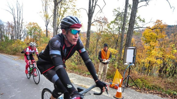 Retired pro cyclist George Hincapie of Greenville, S.C., rides in the Bookwalter Binge Gran Fondo on Oct. 31 in Black Mountain.