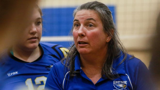 Eastside coach Susan Meadows, daughter Cameron (12) and the Eagles will play Hilton Head Island for the Class AAA volleyball title at 4 p.m. Saturday at White Knoll High School.