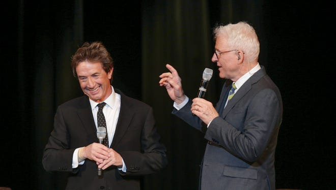Martin Short, left, and Steve Martin perform Saturday at the Murat Theatre in Old National Centre.