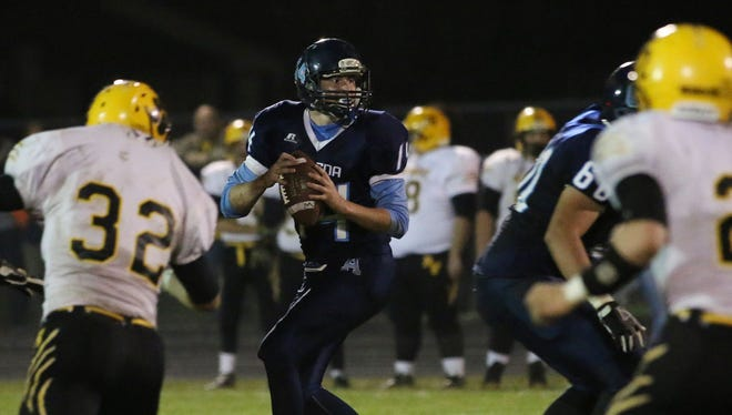 Adena's Jake Dawson drops back to pass against Paint Valley last fall at Bostic Field in Frankfort.