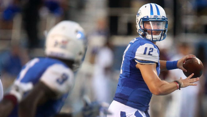 Brent Stockstill and the Blue Raiders look to rebound on Saturday in Bowling Green, Ohio.