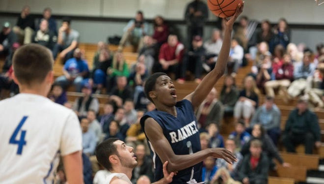 Ranney School's Bryan Antoine scores on a layup against Sayreville in the championship game of the Albert E. Martin Buc Holiday Classic on Dec. 28, 2015 at Red Bank Regional High School.