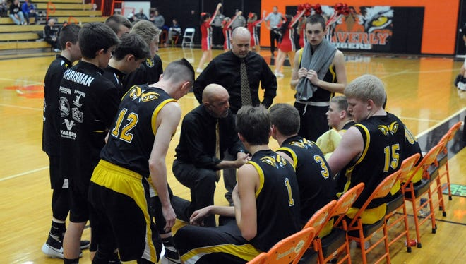 Paint Valley's Dave Shoemaker speaks with his team in a timeout during last year's Division III sectional semifinal against Eastern Brown.