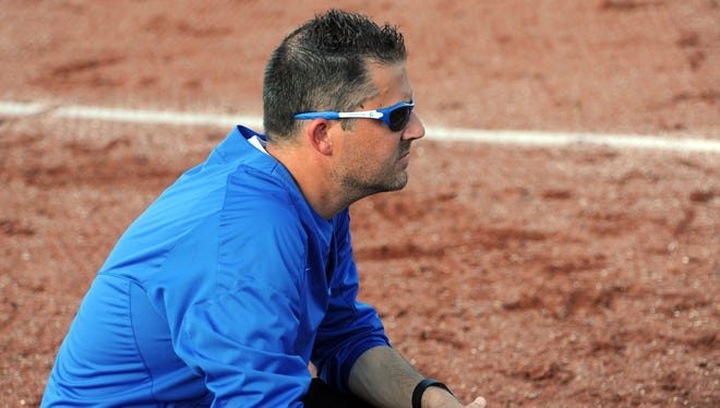 Chillicothe head softball coach Greg Phillips looks on during a tournament contest against Waverly on May 11, 2016. Phillips has high hopes for his Cavaliers this season.