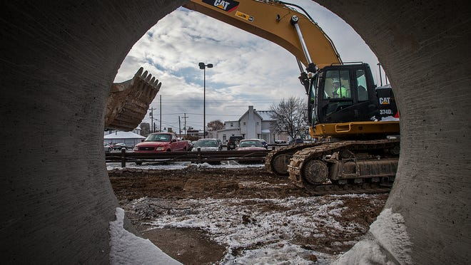A large storm sewer awaits installation on Franklin Street in downtown Muncie.