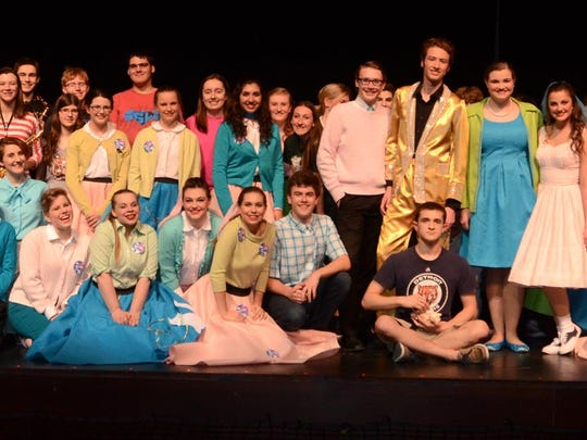 """The cast and crew of South Lyon East High's production of """"Bye Bye, Birdie."""" The musical will be performed beginning April 21 at the school."""