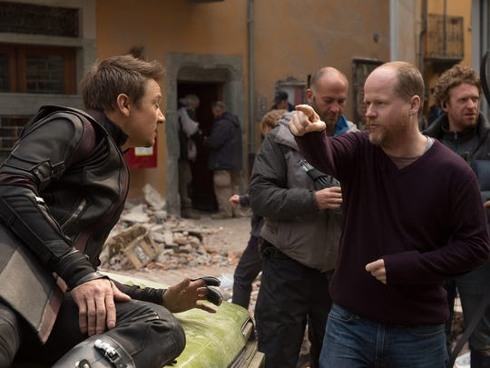 Jeremy Renner gets direction from Joss Whedon on the