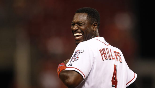 Aug. 14, 2012: Cincinnati Reds second baseman Brandon Phillips (4) reacts after being held up at second base after a base hit by the left fielder Ryan Ludwick (48) and a great play by the New York Mets left fielder during their baseball game at Great American Ball Park.