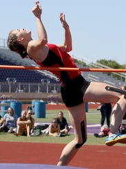 Holliday's Brea Box competes in the 3A high jump at