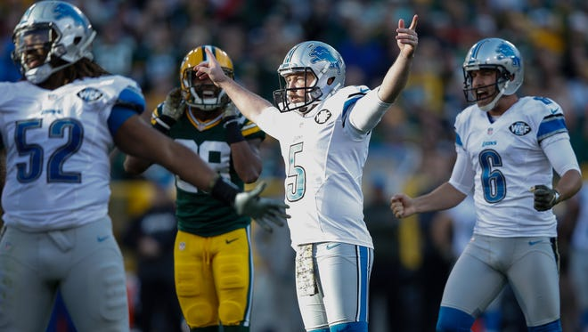 Kicker Matt Prater of the Detroit Lions reacts after making his field goal in the third quarter against the Green Bay Packers at Lambeau Field on Nov. 15, 2015, in Green Bay, Wisconsin.