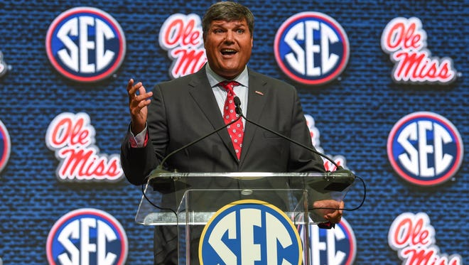 Ole Miss Rebels head coach Matt Luke addresses the media during SEC football media day at the College Football Hall of Fame. Mandatory Credit: Dale Zanine-USA TODAY Sports