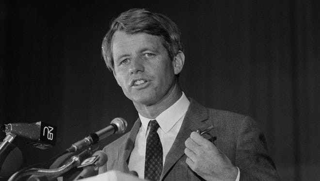 Sen. Robert F. Kennedy speaking at a convention in Atlantic City on May 9, 1968. He was assassinated in Los Angeles a month later.