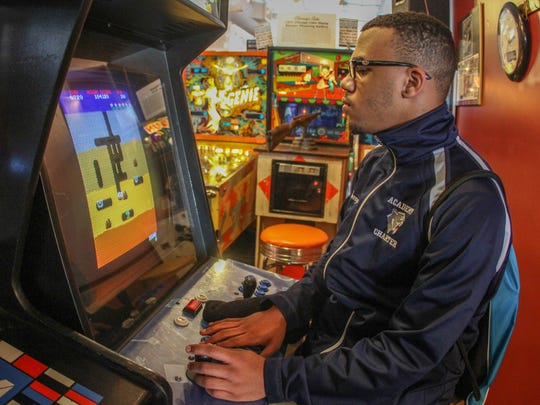 Daryle Carpenter (16) of Barnegat enjoys the Silverball Pinball Museum in Asbury Park.