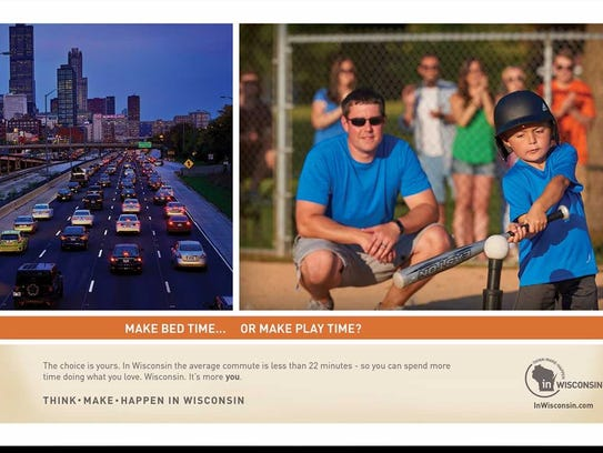 Here's one of the ads that target young professionals who live in Chicagoland to work to move to Wisconsin.