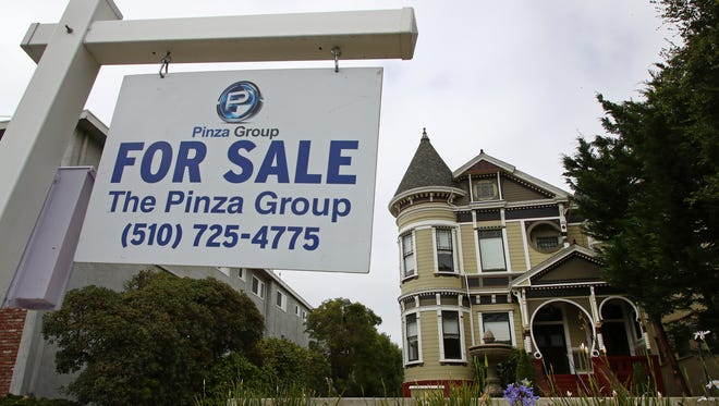 Photo shows a home for sale in Alameda, Calif. On Tuesday, June 26, the Standard & Poor's/Case-Shiller 20-city home price index for April is released.