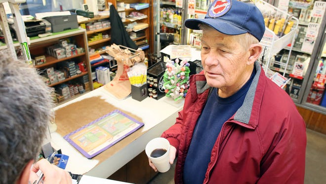 Bill Clark of Eden Township discusses why he voted for Donald Trump while visiting Glenn's Market in Wilkins Corner Thursday morning.