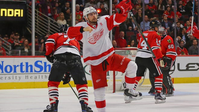 Detroit Red Wings left wing Tomas Tatar celebrates a goal during the second period against the Chicago Blackhawks on Jan. 10, 2017, at the United Center.