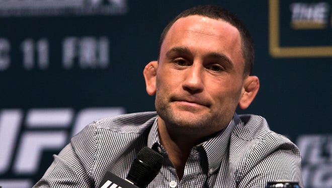 UFC featherweight fighter Frankie Edgar listens to a question during a UFC 194 news conference at the MGM Grand Garden Arena in Las Vegas on Wednesday.