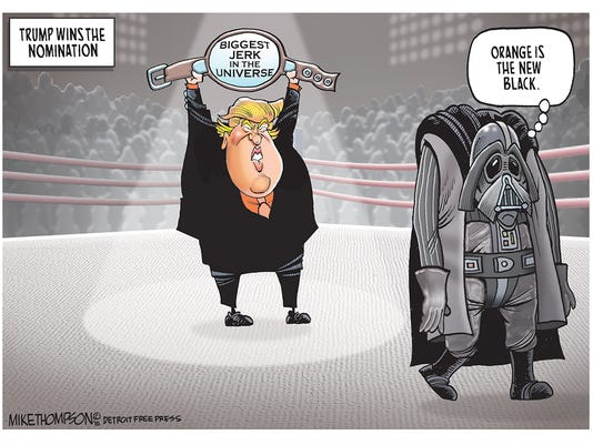 Donald Trump is belted