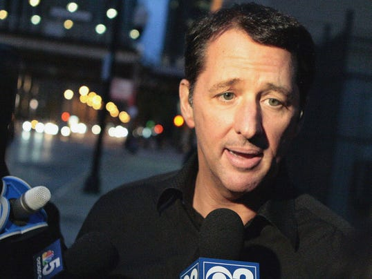 Television infomercial pitchman Kevin Trudeau speaks to the media after leaving the Metropolitan Correctional Center in downtown Chicago.