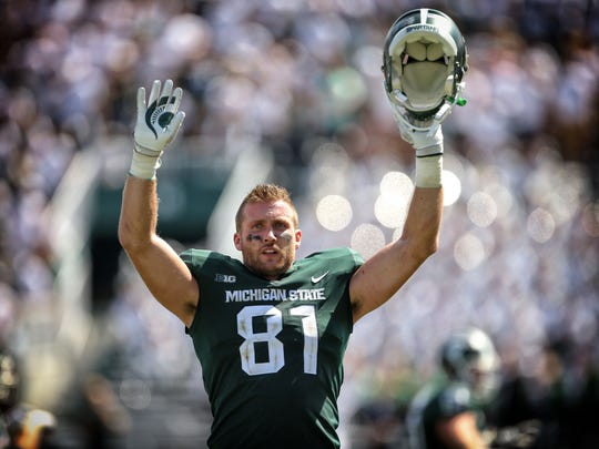 Michigan State Spartans tight end Matt Sokol (81) celebrates his touchdown during the second half MSU's win over Bowling Green Saturday. Sokol had just dropped a would-be touchdown minutes earlier.