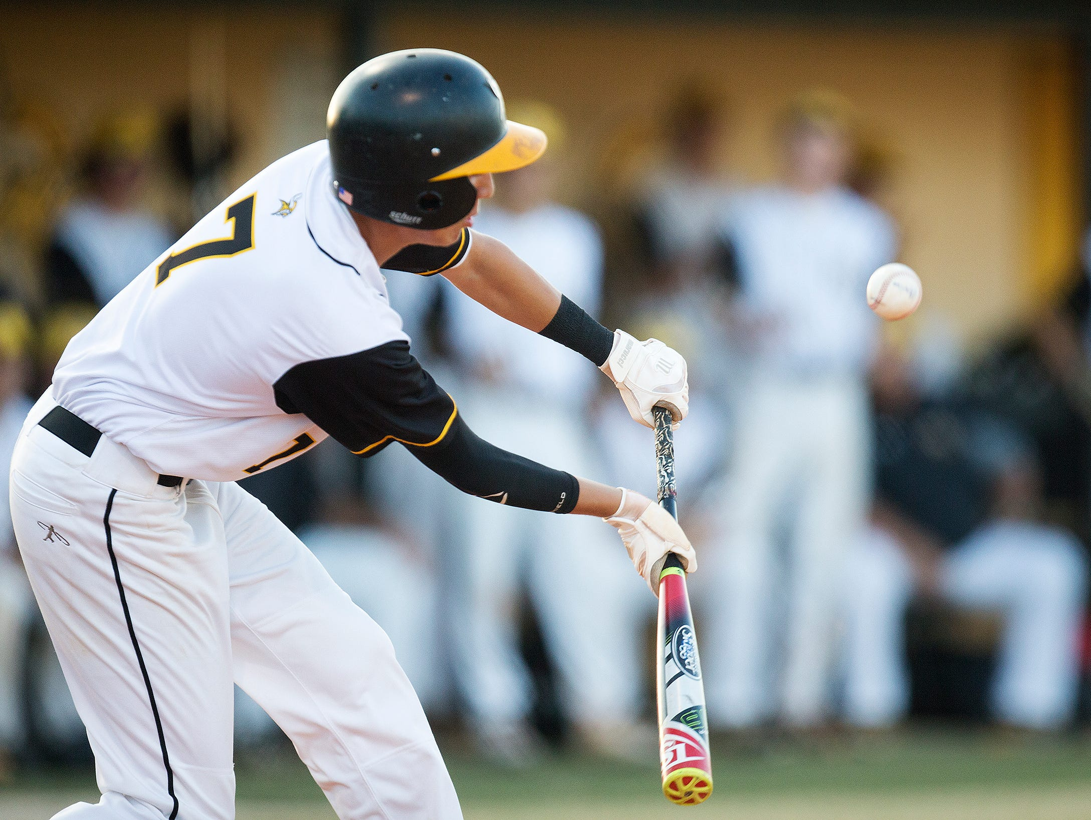 Bishop Verot's Alex Irwin bunts against Cardinal Mooney in District 4A-5 baseball championship Friday at Bishop Verot High School in Fort Myers.