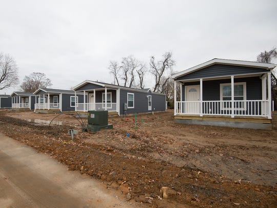 View of new manufactured homes at St. Jones Landing in Magnolia.