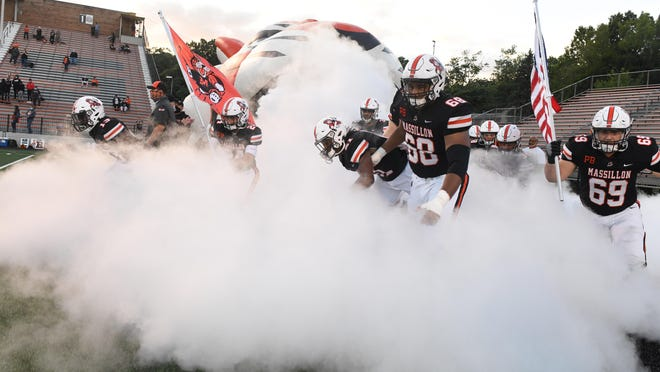 Massillon takes the field before its Week 3 win over Warren Harding on Friday September 11, 2020.