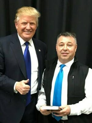 Jeff Klusmeier with 2016 GOP presidential candidate during Donald Trump's Louisville visit last spring.