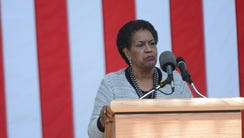 Myrlie Evers speaks at the ceremony remembering the