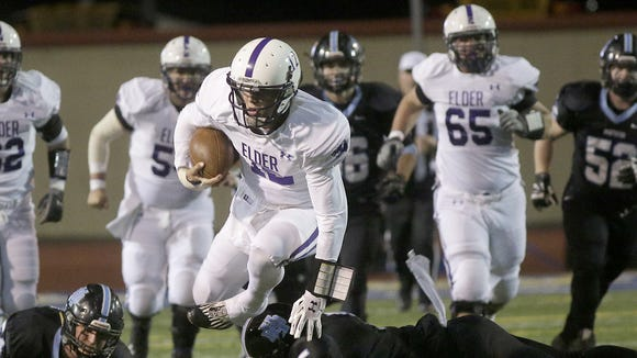 Elder's Peyton Ramsey runs the ball during the Panthers' win Saturday over Hillard Darby.