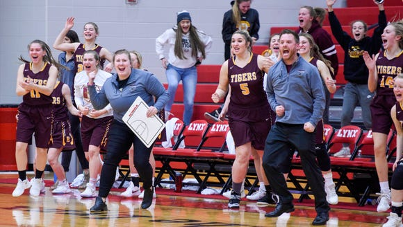 The Harrisburg bench celebrates a buzzer beating shot